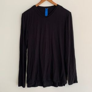 Kit and Ace Long Sleeve Cashmere Blend Layered Long Sleeve Black SzS